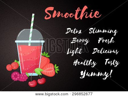 Red Berries Smoothie Vitamin Drink Vector Illustration. Fresh Smoothies Drink With Red Layers In Gla