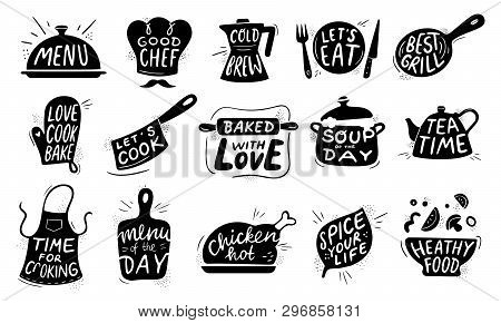Kitchen Food Lettering. Gourmet Cooking Foods Badge, Chicken Recipes Cook And Restaurant Menu Letter