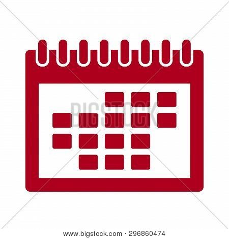 Calendar Icon Isolated Red On White Background, Calendar Icon Vector Flat Modern, Calendar Icon, Cal
