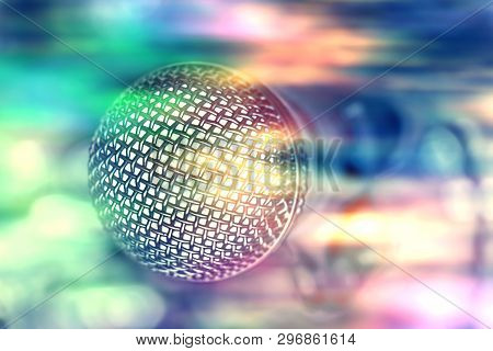 Microphone In Bar For Karaoke, Colorful Nightlife.