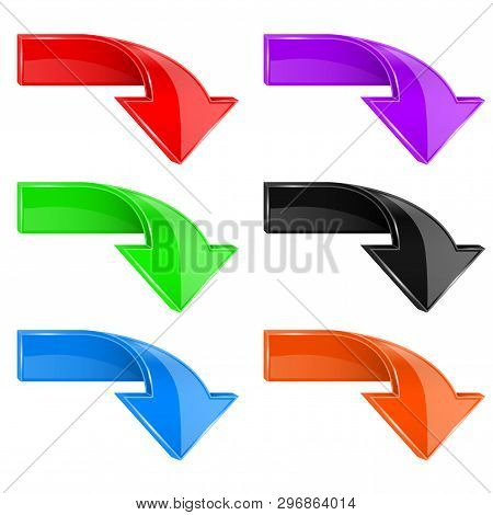 Colored Down 3d Arrows. Vector Illustration On White Background