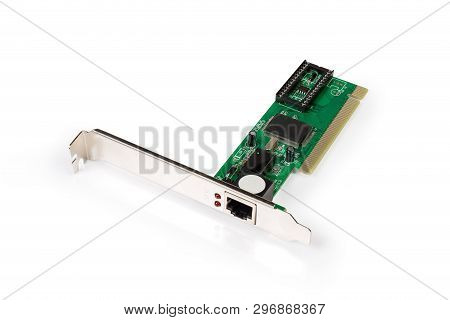 Used Network Interface Controller Card Also Known As Network Adapter For Pci Bus With Twisted Pair P