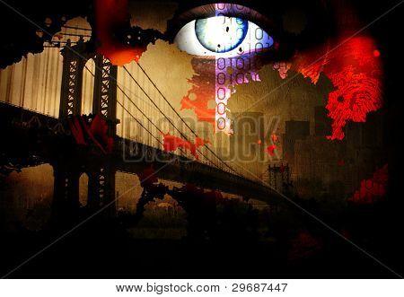 Bridge and eye abstract