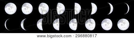 Creative Vector Illustration Of Realistic Moon Phases Schemes Isolated On Transparent Background. Ar