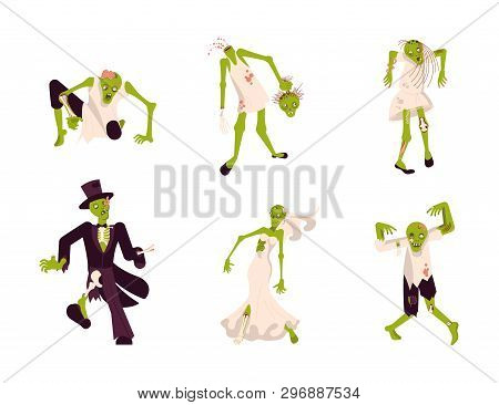 Set Of Funny Zombies Isolated On White Background. Characters For Halloween. Flat Art Vector Illustr