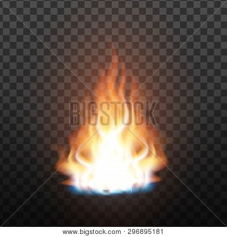 Animation Stage Of Bright Realistic Fire Vector. Orange Flammable Trail Of Fire. Fiery, Bonfire Or B