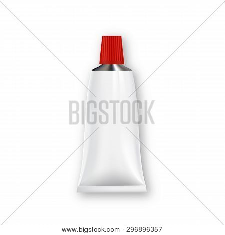 Glossy Metal Tube With Ribbed Cap For Glue Vector. Realistic Tube With Closed Red Lid For Sealant, E