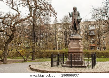 Monument To Immanuel Cant In Kaliningrad Russia Outdoor On Spring Day