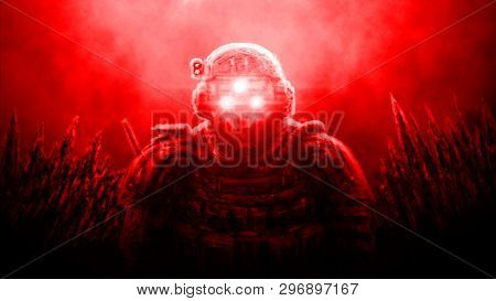 Special Forces Officer In Night Vision Device On Red Background. Illustration In Science Fiction Gen