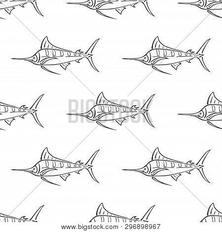 Marlin Sailfish Character Abstract Hand Drawn Vector Seamless Pattern. Simplified Retro Illustration