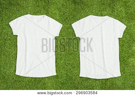 Front And Back Of White Empty T-shirt On Grass Background. Horizontal View.