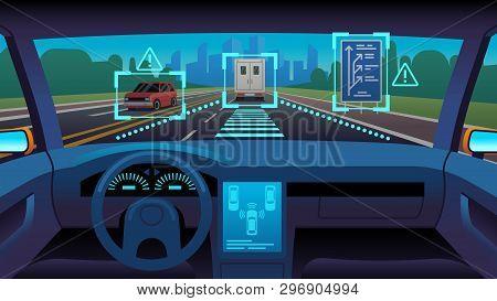 Future Autonomous Vehicle. Driverless Car Interior Futuristic Autonomous Autopilot Sensor System Gps