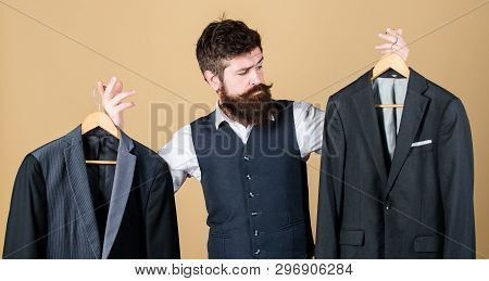 Tailored Suit Concept. Designing Made To Measure Suit. Custom Made Suit. Man Bearded Fashion Couturi