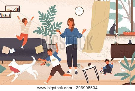 Calm Mom And Naughty Mischievous Children Running Around Her. Mother Surrounded By Kids Trying To Ke