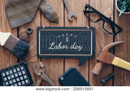 Happy Labor Day Background Concept. Flat Lay Of Construction Blue Collar Handy Tools And White Colla