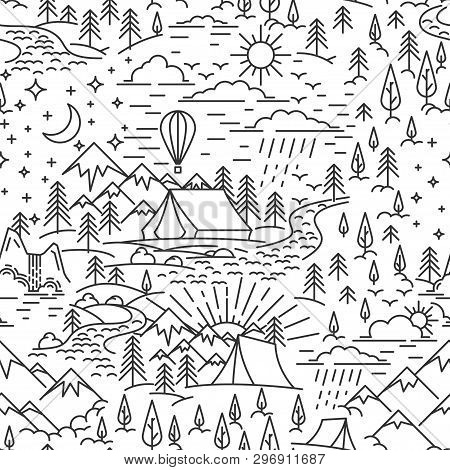 Seamless Pattern From Lineart Elements Of Nature Travel Theme. Mountains And Tent, Pine Tree And Wat