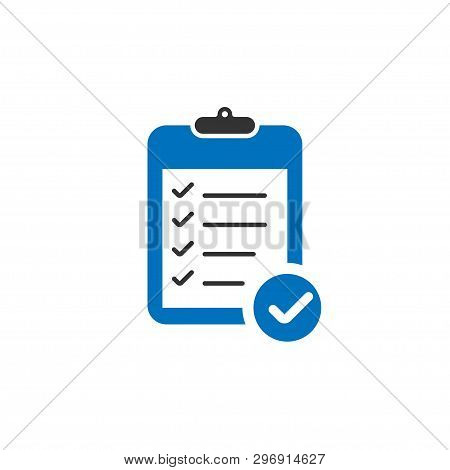 Blue Clipboard Icon With Check Marks In Trendy Flat Design. Clipboard Icon. Check Mark With Clipboar