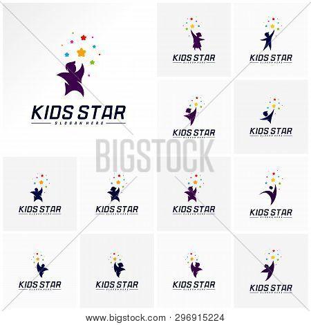 Set Of Reaching Stars Logo Design Template. Dream Star Logo. Kids Star Concept, Colorful, Creative
