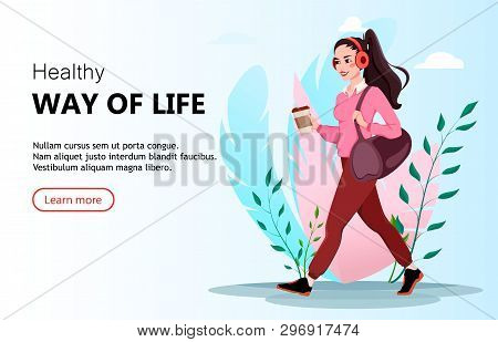 Beautiful Woman Cartoon Character Goes To The Gym For Sports. Healthy Way Of Life Concept. Usable Fo