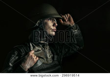 There Is Nothing To Lose Anymore. Close Up Portrait Of Young Female Soldier. Woman In Military Unifo