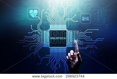 Insurtech Button On Virtual Screen. Insurance Technology Internet Digital Iot Insured Family Car Pro