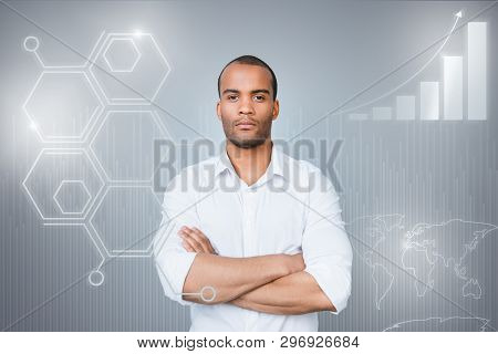 Close Up Virtual Effected Design Stylized Graphic Photo He Him His  Guy Social Marketing Trading Fut