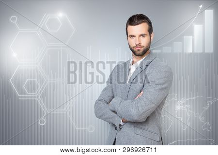 Close Up Mixed Creative Design Stylized Graphic Virtual Poster Photo Confident He Him His Guy Social