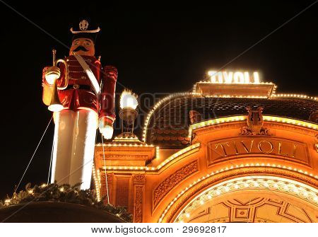Architectural detail of Tivoli Gardens entrance at Christmas (Copenhagen, Denmark) poster