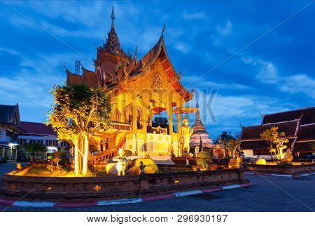 Wat Buppharam In The Old Town Of Chiang Mai In The Evening, Thailand