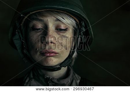 Hide The Best Of Yourself For Getting Proud. Close Up Portrait Of Young Female Soldier. Woman In Mil