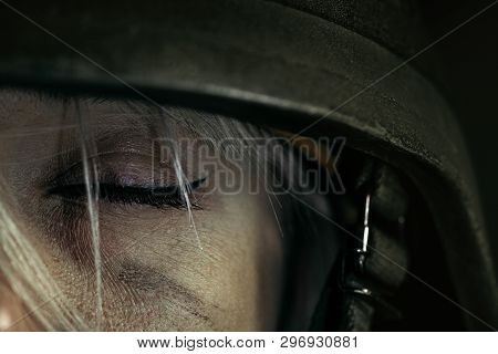 Have No Sweet Dreams At Night, But Nightmares. Close Up Portrait Of Young Female Soldier. Woman In M