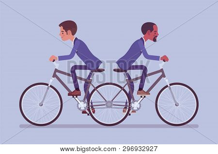 Businessmen Riding Push Me Pull You Tandem Bicycle. Male Ambitious Managers In Disagreement, Unable