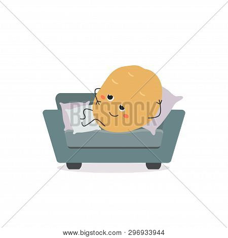Funny Lazy Cartoon Couch Potato Laying On Small Sofa. Vector Flat Illustration Isolated On White Bac