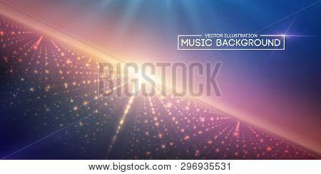 Music Abstract Background Blue. Eps10 Vector Illustration.