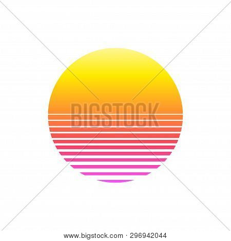 Retro Sunset In 80`s Style On White Background. Retrowave, Synthwave Futuristic Background. Template