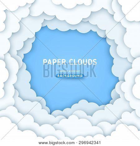 Clouds Paper Cut Background. Volumetric Cloudy Blue Sky, 3d Color Illustration. Cloudscape Vector Bo