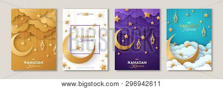 Ramadan Kareem Set Of Posters Or Invitations Design With 3d Paper Cut Islamic Lanterns, Stars And Mo