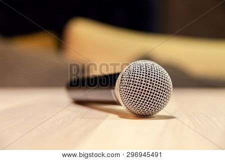 Closeup Silver Iron Microphones With Black Handle On The Table. Concept Live Music In Restaurant, Ba