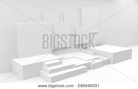 Podium In Abstract Composition, 3d Render, 3d Illustration