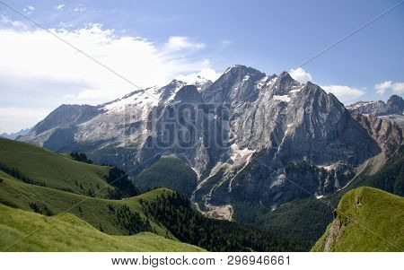 Mountain Scenery Of Italian Dolomites, Mountain Massifs, Snow, Wild Storm Clouds, Mountain Trails, M