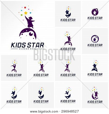 Set Of Reaching Stars Logo Design Template. Dream Star Logo. Kids Star Concept, Colorful, Creative