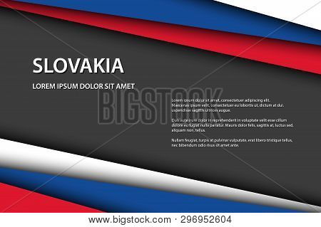 Modern Vector Background With Slovak Colors And Grey Free Space For Your Text, Overlayed Sheets Of P