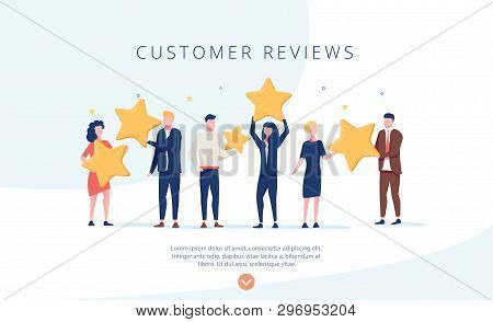 People Holding Stars. Customer Reviews Concept Illustration Concept Illustration, Perfect For Web De