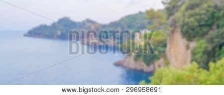 Defocused Background Of Portofino In Liguria, Italy. Intentionally Blurred Post Production For Bokeh