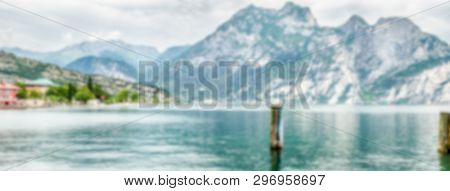 Defocused Background Over The Lake Garda From The Town Of Torbole, Italy. Intentionally Blurred Post