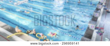 Defocused Background With Aerial View Of A Swimming Pool Indoor. Intentionally Blurred Post Producti