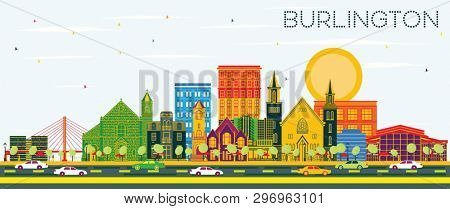 Burlington Iowa Skyline with Color Buildings and Blue Sky. Business Travel and Tourism Illustration with Historic Architecture.