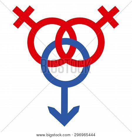 Schematic representation of polyamoric relations between three people. Polyamory conceptual illustration poster