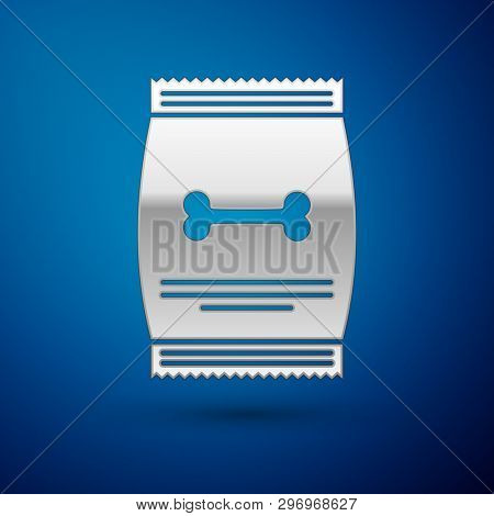 Silver Bag Of Food For Pet Icon Isolated On Blue Background. Food For Animals. Dog Bone Sign. Pet Fo