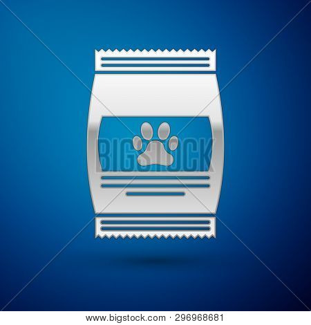 Silver Bag Of Food For Pet Icon Isolated On Blue Background. Food For Animals. Pet Food Package. Dog